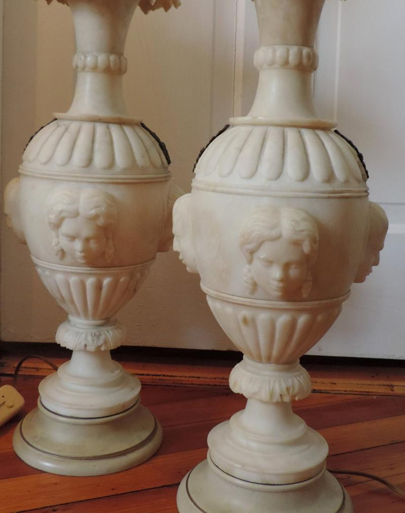South street antiques lamps lighting large pair 19th c classical marble urns carved with faces in the manner of thomas hope mounted as lamps reviewsmspy