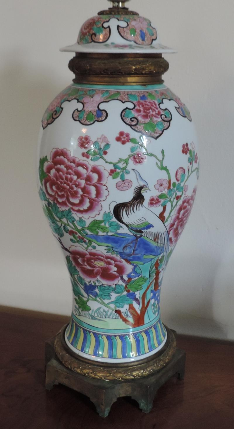 South street antiques lamps lighting large chinese famille rose porcelain vase cover mounted in bronze as a lamp decorated with exotic birds insects and peonies in bright palette reviewsmspy
