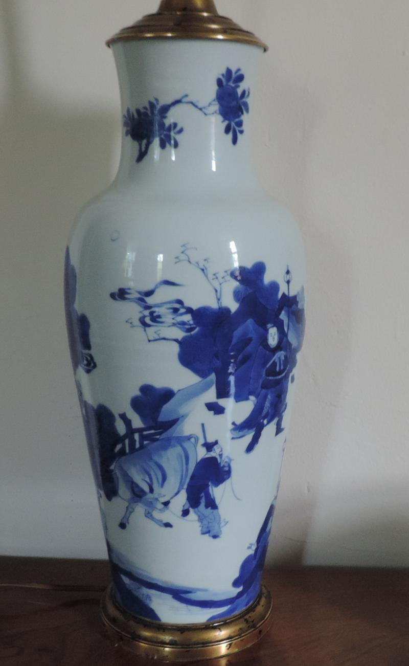 South street antiques lamps lighting antique chinese kangxi porcelain blue white baluster shaped vase mounted as a lamp floridaeventfo Images