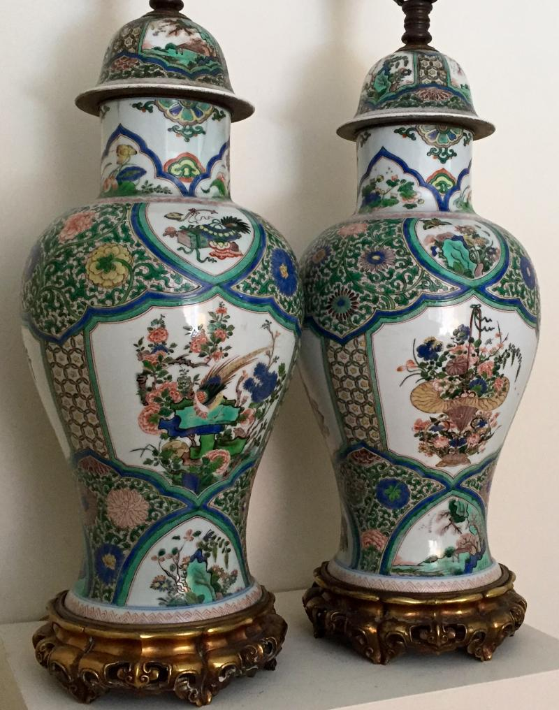 South street antiques lamps lighting very large pair 19th c samson porcelain famille vert vases covers decorated with precious objects in the chinese kangxi taste now mounted as lamps reviewsmspy